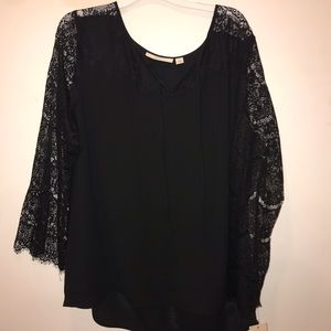 Black lace bell sleeved blouse!